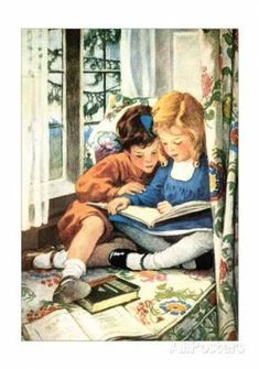 Children Reading by Jessie Willcox Smith Art Print on Canvas Magnolia Box Size: Extra Large Framed Art Prints, Painting Prints, Fine Art Prints, Canvas Prints, Paintings, Jessie Willcox Smith, Watercolor On Wood, Kids Reading, Reading Art