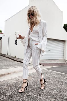 White SuitsBC the label jacket | BC the label pant | BC the label top | The Mode Collective Heels (similar here) | Ray-Ban sunglasses Fashion Look by Brooke Testoni
