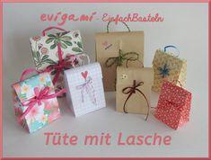 evigami - Vorlagen für Tüten und Schachteln Origami, Gift Wrapping, Gifts, Diy, Brown Paper, Craft Tutorials, Stencils, Gift Wrapping Paper, Presents