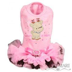 tonimari™ vest, classic top & pettiskirt edge, embroidered - santa's lil' helper (pink/brown)