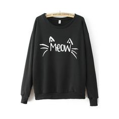 MEOW Cat Print Loose Black Sweatshirt ($17) ❤ liked on Polyvore featuring tops, hoodies, sweatshirts, black, cat print sweatshirt, loose tops, loose sweatshirt, loose fit tops and sweater pullover