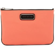 Marc Jacobs Sophisticato Colorblocked Cosmetics Pouch ($35) ❤ liked on Polyvore featuring beauty products, beauty accessories, bags & cases, spring peach multi and marc jacobs