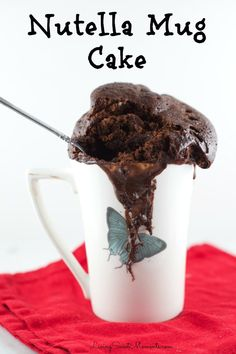 This delicious Microwave Nutella Mug Cake Recipe is made from start to finish in 5 minutes or less. Simple ingredients make this moist, chocolatey cake