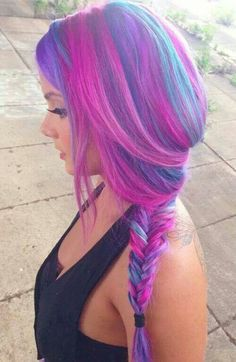 50 Sweeet Cotton Candy Hair Ideas That Are As Aye-pleasing As Can Be Hair Color Purple, Cool Hair Color, Pink Purple, Hair Colors, Hairstyles Haircuts, Pretty Hairstyles, Color Fantasia, Cotton Candy Hair, Hair Chalk
