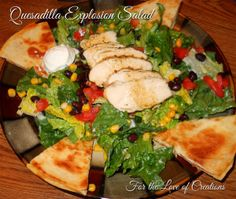 Quesadilla Explosion Salad - Chili's Copy Cat recipe with homemade Citrus Balsamic Vinaigrette Dressing, Chipotle Ranch Dressing, and Corn Relish - it's yummy