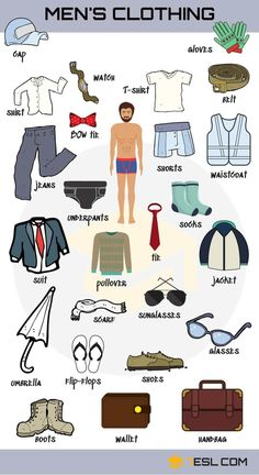 Clothes Vocabulary: Learn Clothes Name with Pictures – ESLBuzz Learning English Clothes Vocabulary: Learn Clothes Name with Pictures – ESL Buzz English Writing Skills, Learn English Grammar, English Vocabulary Words, Learn English Words, English Study, English Lessons, English Men, French Lessons, Spanish Lessons