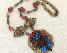 Art Deco Statement Necklace  Statement Rhinestone Necklace