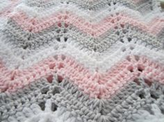 Baby girl chevron blanket in pink grey and white. $52.95 via DonnasPinsandNeedles on Etsy