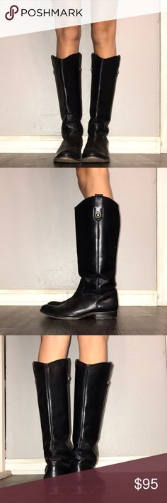 Frye riding boots Black leather frye riding boots. Worn maybe once or twice in amazing condition! Size 7-7.5 Frye Shoes
