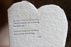 Rumi quote letterpressed on handmade deckle folded heart :: oblation papers and press