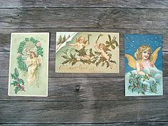 Antique 1909 Group of 3 Angel Themed by SofiasCobwebMuseum on Etsy..$15