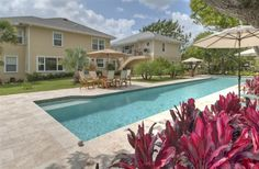 A chlorine-free, 75-foot lap pool at Historic Hartman House in Delray Beach, Florida