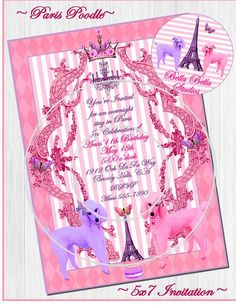 PARIS POODLE PRINTABLE INVITATION by Bella Bella Studios ~ Oodles of Paris Poodles available in the Bella Bella Studios Etsy shop ~ let us customize for your sweet celebration. Perfect for birthdays, baby showers, bridal showers, luncheons, etc.... #poodles #Eiffeltower #paris #French #macarons #macaroons #butterflies #butterfly #invitations #printables #party #pinkpoodle #lavender #purple #argyle #etsy #graphicdesign #diy #printathome