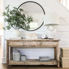 Farmhouse Tour Friday {vol. // Loving this farmhouse entryway with black round mirror, greenery, and coastal buffet table. Farmhouse Tour Friday {vol. // Loving this farmhouse entryway with black round mirror, greenery, and coastal buffet table. Black Round Mirror, Round Mirrors, Deco Buffet, Rooms For Rent, Home Decor Inspiration, Design Inspiration, Entryway Tables, Entryway Ideas, Entry Table With Mirror