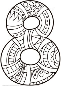 Number 8 Zentangle coloring page from Zentangle Numbers category. Select from 21162 printable crafts of cartoons, nature, animals, Bible and…