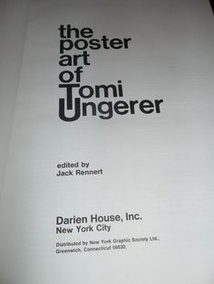 THE POSTER ART OF TOMI UNGERER Darien House NY Graphic Society 1971 JACK RENNERT
