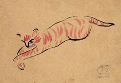 Chinese-French painter Sanyu 常玉 (or Chang Yu) (1901–1966) - Cat, 1920's/1930's - Ink and watercolor on paper