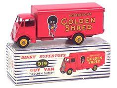 DINKY TOYS (GB) (1) 919 - GUY `ROBERTSON`S GOLDEN SHRED` - rouge - certaines parties de carrosserie plus ou moins décolorées par endroits - petites retouches sur la calandre  les phares - très légers manques de papier sur la boîte B.b PEU COURANT