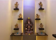 Create these smart, trendy pooja room designs in living room. These stunning pooja room designs in living room will add beauty and serenity to your house. Temple Room, Home Temple, Room Interior, Home Interior Design, Temple Design For Home, Mandir Design, Pooja Mandir, Pooja Room Door Design, Puja Room