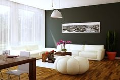 Gray wall and whit decor