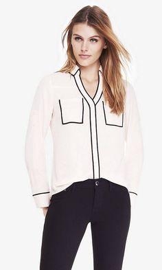 Express Ivory White Contrast Piping Original Fit Portofino Women's Shirt Nwt