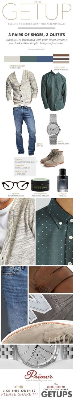 3 Pairs of Shoes, 3 Outfits - Men's style inspiration - The Getup - cheap mens clothing online, tall mens clothing, mens clothing suits