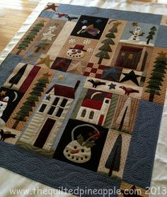 Short and Sweet QuiltPine Tree Ridge QuiltDoor County Cherry Baskets Wool Quilts, Applique Quilts, Wool Applique, Small Quilts, Mini Quilts, Quilting Projects, Quilting Designs, Quilting Ideas, Wooly Bully