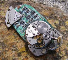 Cyber meets Steam, Steampunk Brooch, Pin,  Hand Made Upcycled Item Arts and Craft by ArtandThingsUK on Etsy