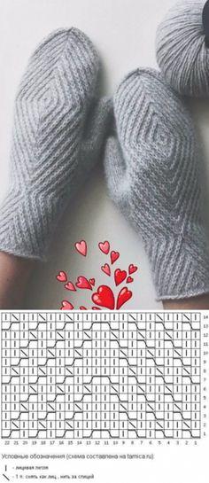 Crochet Patterns Gloves Knitting pattern of knitted mittens Knitting Charts, Knitting Stitches, Knitting Socks, Hand Knitting, Knitting Patterns, Knitting Needles, Hat Patterns, Loom Knitting, Stitch Patterns