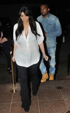 Date Night from Kim Kardashian's Pregnancy Style  Kimye celebrates Valentine's Day with a dinner date at Lawry's in Beverly Hills.