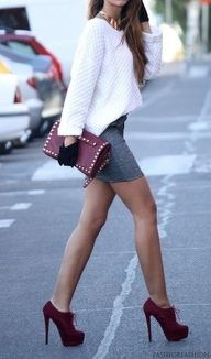 <3 burgundy and thoes Stiletto High Heel Ankle Shoes Boots