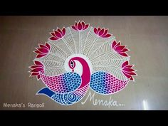 Peacock Rangoli Design for Diwali Rangoli Ideas, Rangoli Designs Diwali, Kolam Rangoli, Kolam Designs, Mehandi Designs, Peacock Rangoli, Indian Rangoli, Crafts For Boys, Arts And Crafts