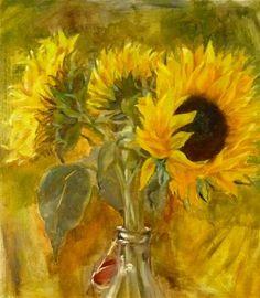 "Daily Paintworks - ""sunflowers"" - Original Fine Art for Sale - © Monica Patel"
