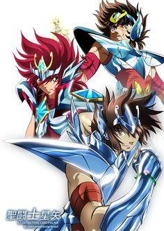 Seiya (Clásico) , Koga (Omega) y Tenma (TLC)
