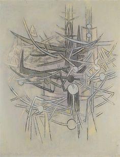 """thunderstruck9: """" Wifredo Lam (Cuban, 1902-1982), La Barrière, 1964. Oil on canvas, 116.5 x 89.4 cm. """""""
