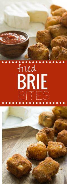 Fried Brie Bites - Crunchy, creamy and oh so cheesy.  Make ahead and freeze them for last minute company. Perfection. happymoneysaver.com via @HappyMoneySaver