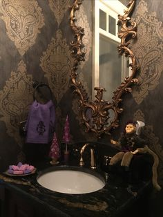 Purple is A Christmas Color...at least in this fab powder room