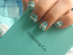 Nails at Tiffany's. ..I've gotta do this one!!!!  Especially on my wedding ring figure.