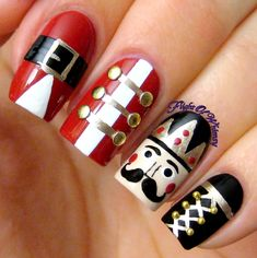 I actually wore these to Thanksgiving, but that is when the Christmas decorations go up! The story here is that my mother-in-law collects nutcrackers. She probably has around 100 total, it is prett… Holiday Nail Art, Christmas Nail Art Designs, Winter Nail Designs, Christmas Decorations, Xmas Nails, Christmas Nails, Fancy Nails, Pretty Nails, Nails Only