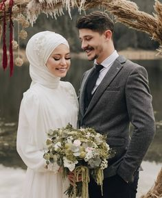 Image may contain: 2 people, wedding - Hijab Clothing Hijabi Wedding, Disney Wedding Dresses, Muslim Brides, Pakistani Wedding Dresses, Muslim Couples, Wedding Hijab Styles, Modest Wedding, Couple Wedding Dress, Wedding Couples