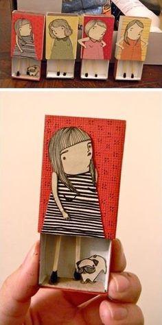 Ilustrações em caixas de fósforos by Mai Ly.