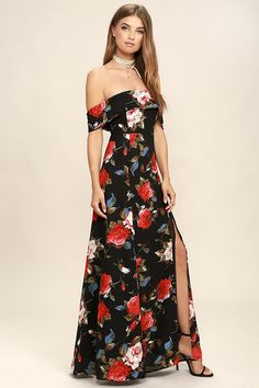 The I Care Black Floral Print Off-the-Shoulder Maxi Dress is sure to brighten up any occasion! A flirty, allover floral print in shades of black, red, light blue, and green, shapes an elasticized, ruffled, off-the-shoulder neckline and princess seamed bodice. Maxi skirt features a sexy side slit. Hidden back zipper with clasp.