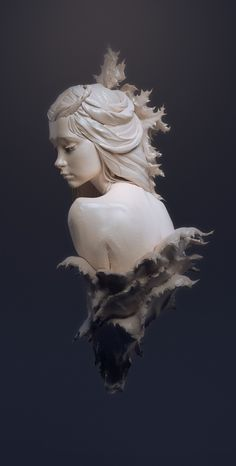ArtStation - A girl in prickly leaves, Dmitry Zamulin 3d Modelle, Bild Tattoos, Art Sculpture, Ceramic Sculptures, Oeuvre D'art, Clay Art, Art Inspo, Art Girl, Art Reference