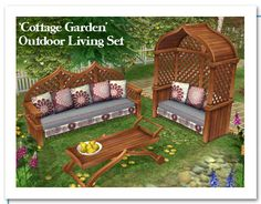 Cottage Garden Outdoor Living Set for The Sims 2 Cottage Furniture, Home Decor Furniture, Outdoor Furniture Sets, Wooden Furniture, Sims 4 Tsr, Sims Cc, Sims 4 Mods, Garden Patio Sets, Sims 4 Collections