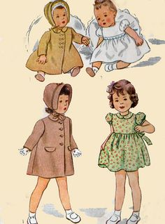 1940s Girls Coat Hat and Dress Simplicity 4799 by sandritocat