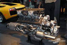 The Lamborghini Murcielago V12 engine at North American International Auto Show, Detroit