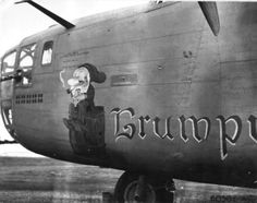 Liberator 'Hail Columbia' 'Grumpy', survived the Aug 43 Ploesti oil refinery raid, crashed on its return to Cyprus and was abandoned. Ww2 Aircraft, Military Aircraft, American Air, Airplane Art, American Fighter, Nose Art, Air Show, Photos Of The Week, Military Art