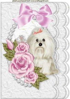 CUTE WESTIE WITH PINK ROSES IN PEARL FRAME A4 on Craftsuprint - Add To Basket!