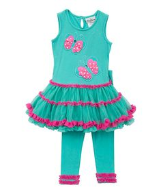 Look at this Aqua & Fuchsia Butterfly Tunic & Leggings - Girls on #zulily today!
