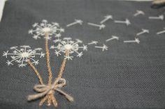 Dandelion Embroidery by vintageworksart on Etsy